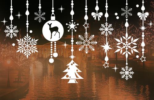 kerst decoratie winkel stickers zelfklevend
