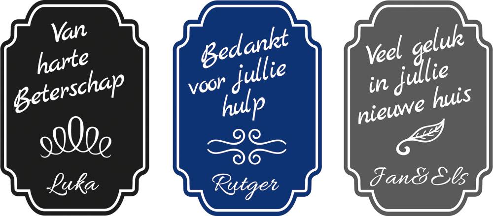 stickers etiket persoonlijk eigen naam langedijk